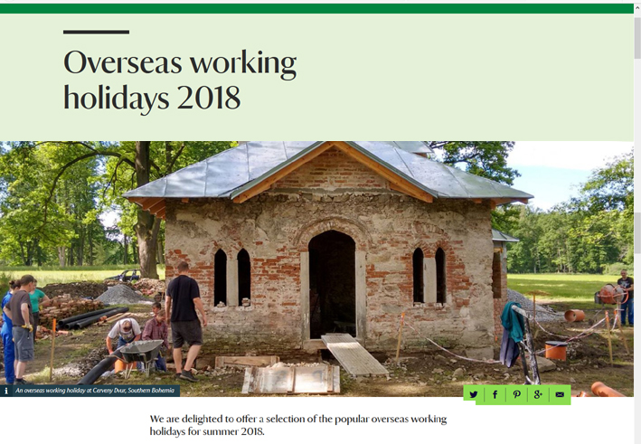 UK National Trust advertises The Friends' Working Holidays for 2018